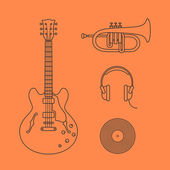 Flat icons of guitar — Stock Vector