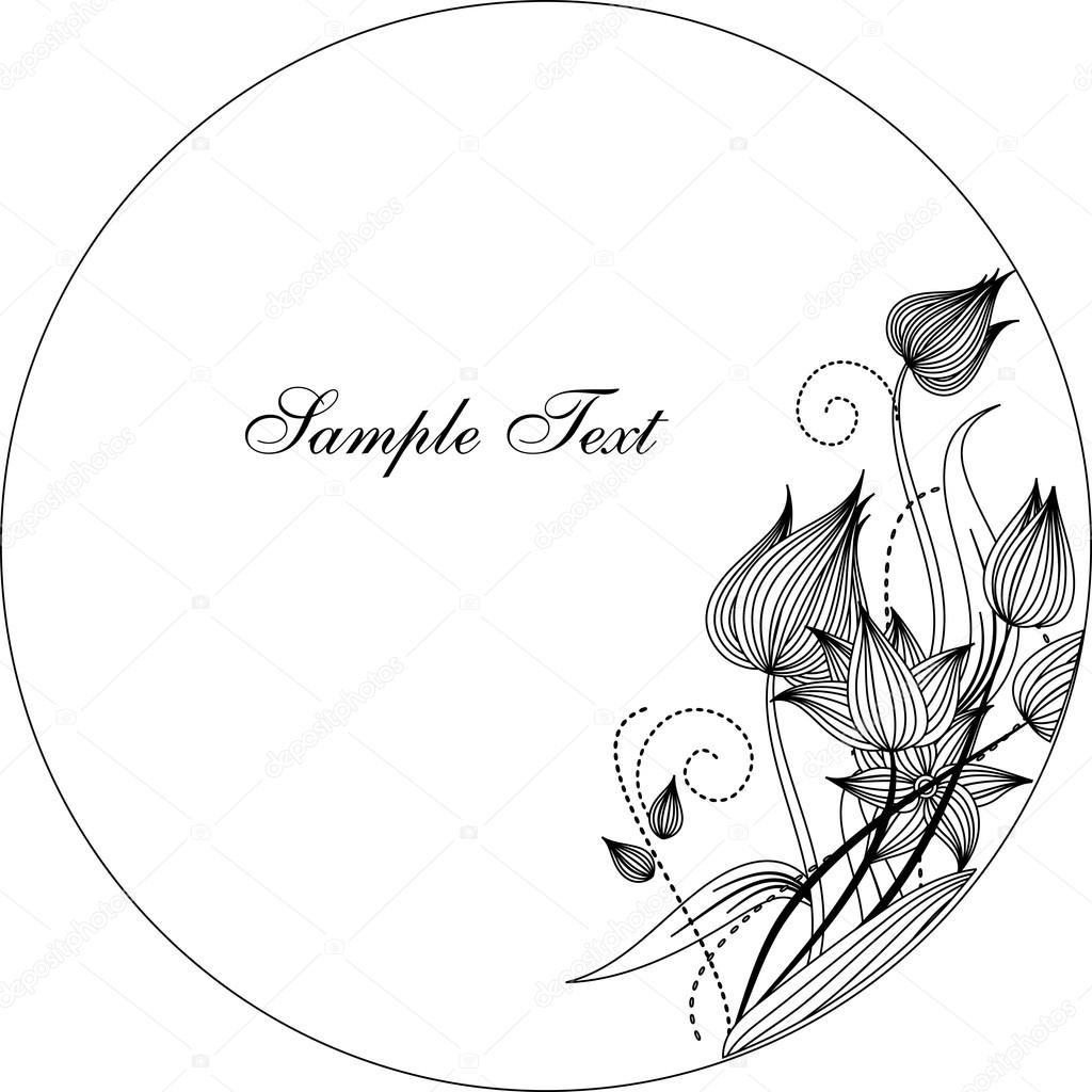 Round frame with decorative branch vector illustration stock - Round Frame With Decorative Branch Vector Illustration Vector By Galinashpak