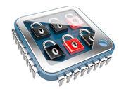 Concepto de seguridad. chip de computadora cpu con cerradura — Foto de Stock