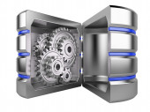Hard disk with gears inside  — Stock Photo