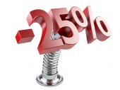 Twenty five percent off on a spring — Stock Photo