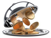 Restaurant cloche with golden coins and open lid — Stock Photo