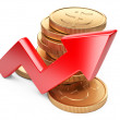 Financial success concept. Red arrow and coins — Stock Photo #59751869