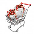 Shopping cart with gifts boxes — Stock Photo #60285535