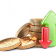 Financial success concept. Red and green arrows and coins  — Stock Photo #64449101