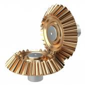 Brass conical gear wheels set — Stock Photo