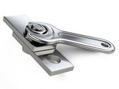 Chrome spanner, nut and bolt — Stock Photo