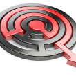 3d circle maze with red arrow — Stock Photo #68476743