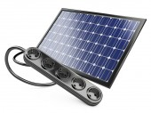 Solar panel with socket — Stock Photo