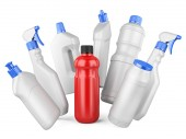 Set of white bottles and one red bottl with detergents — Stock Photo