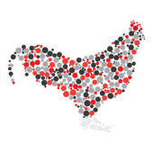 Dotted colorful cock — Stock Vector
