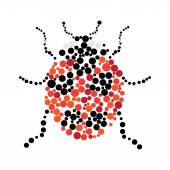 Dotted colorful ladybug silhouette — Stock Vector