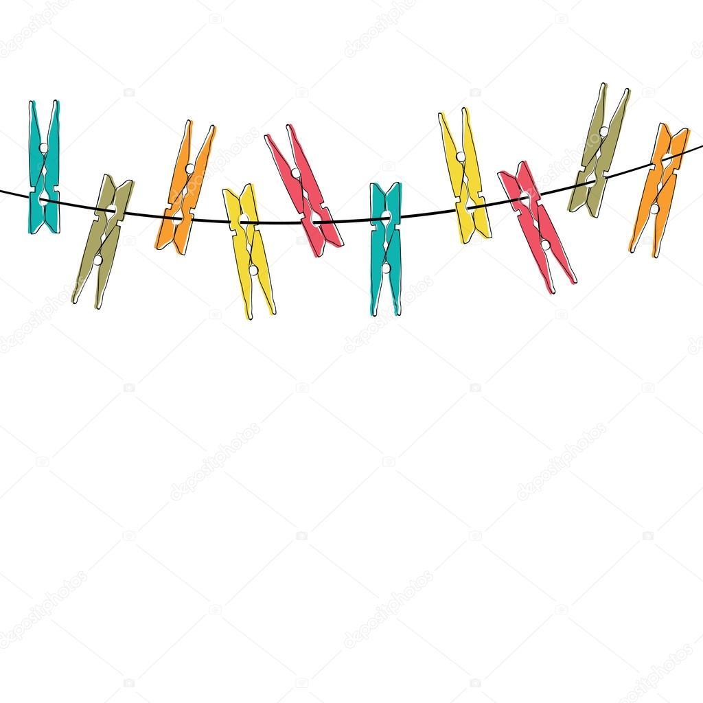 Pinzas para la ropa colorida de dibujos animados archivo - Tendederos de ropa de pared ...