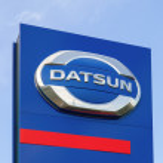 SAMARA, RUSSIA - AUGUST 30, 2014: Datsun dealership sign against — Stock Photo #52733435