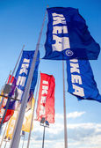 SAMARA, RUSSIA - SEPTEMBER 6, 2014: IKEA flags against sky at th — Stock Photo