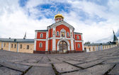 Russian orthodox church. Iversky monastery in Valdai, Russia. Wa — Foto Stock