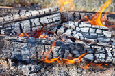 Closeup of hot burning firewood in campfire — ストック写真