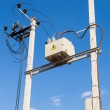 Transformer on high power station against blue sky background — Stock Photo #53777613