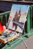 SAINT PETERSBURG, RUSSIA - AUGUST 9, 2014: Artist paint Church o — Stock Photo