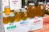 Sweet honey for sale at the local farmers market in Samara, Russ — Stock Photo