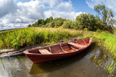 Old wooden boat at the lake in summer day — Stock Photo