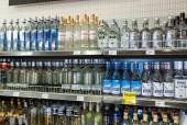BOROVICHI, RUSSIA - JULY 11, 2014: Showcase alcoholic beverages  — Stock Photo