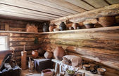 NOVGOROD, RUSSIA - JULY 23, 2014: Interior of old rural wooden h — Stock Photo