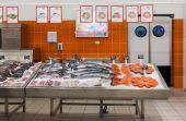 Samara, Russia - 26 ottobre 2014: Pesce crudo pronto per la vendita in th — Foto Stock