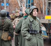 Member of Historical reenactment in German Army uniform — Stock Photo