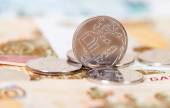 Russian rubles coins and banknotes close up — Stockfoto
