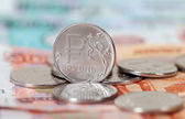 Russian currency, rouble: banknotes and coins close up — Stockfoto
