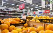 Fresh fruits ready for sale in the hypermarket Karusel — Stock Photo