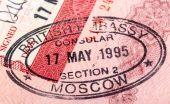 British visa stamp in your passport. Closeup — Stock Photo
