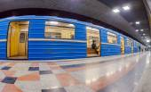 Blue subway train standing at the underground station — Stock Photo