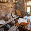 Interior of old rural wooden house in the museum of wooden archi — Stock Photo #61719823