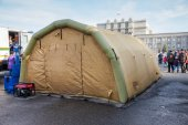 Big inflatable tent at the Kuibyshev square in Samara, Russia — Stock Photo