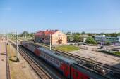 View of Rail Terminal Okulovka and rail ways in summer sunny day — 图库照片