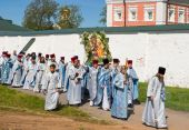 The annual sacred religious procession of Icon of Our Lady of Iv — Stock Photo