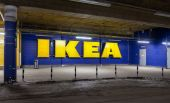 Log in hypermarket IKEA from the car parking under the building — Stock Photo