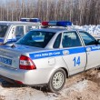 Постер, плакат: Russian patrol cars of the State Automobile Inspectorate in wint