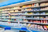 Fresh milk produces ready for sale in Perekrestok Samara Store,  — Stock Photo