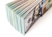 Heap of one hundred dollar bills close up — Stock Photo