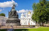 Monument for Millennium of Russia and St. Sophia cathedral in th — Stock Photo