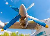Turbines of turboprop aircraft An-12 at an abandoned aerodrome — Stockfoto