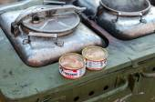 Cooking food on a military field kitchen in field conditions — Stock Photo