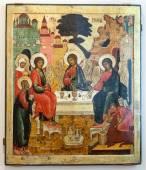 Antiguo icono ortodoxo ruso la Trinidad del Antiguo Testamento — Foto de Stock