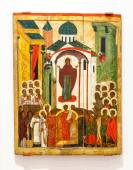 Antique Russian orthodox icon Intercession of the Theotokos pain — Stock Photo
