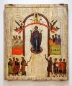 Antyczne ikona prawosławna. Ochrony Virgin pai — Zdjęcie stockowe
