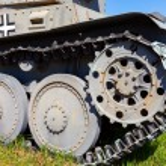 German old light tank caterpillar close up — Stock Photo #70723173