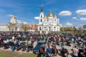 The traditional annual May Day gathering of bikers in Samara, Ru — Stock Photo